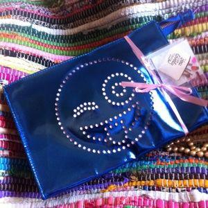 Handbags - NW/OT Large Metallic Blue Emoticon Cosmetic Bag